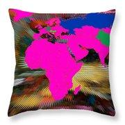 World Map And Human Life Throw Pillow