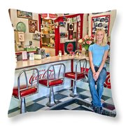 50s American Style Soda Fountain Throw Pillow by David Smith