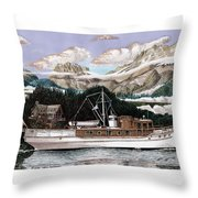North To Alaska On A 53 Foot Classic Yacht  Throw Pillow