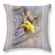5393-006 - Pine Warbler-fb Throw Pillow
