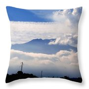 View Of Mt. Etna From Taormina Sicily Throw Pillow