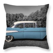 57 Chevy Black And White And Color Throw Pillow