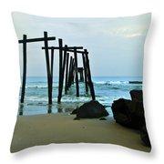59th Street Pier Ocean City   Throw Pillow