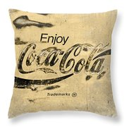 Coca Cola Sign Grungy Retro Style Throw Pillow