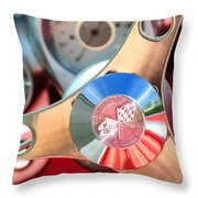 1960 Chevrolet Corvette Steering Wheel Emblem Throw Pillow by Jill Reger