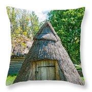 A Typical Ukrainian Antique Hut Throw Pillow