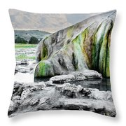 A Woman Sits Alone In Travertine Hot Throw Pillow