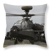 Ah-64 Apache Helicopter On The Runway Throw Pillow