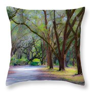 Allee Of Oaks Throw Pillow