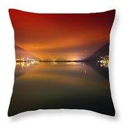 Alpine Lake At Night Throw Pillow