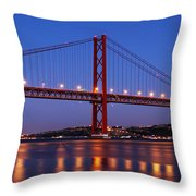 April Bridge In Lisbon Throw Pillow