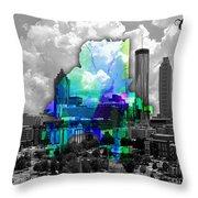 Atlanta Map And Skyline Watercolor Throw Pillow