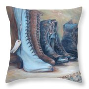 6 Boots Throw Pillow