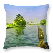 Captain Of The Houseboat Surveying Canal Throw Pillow