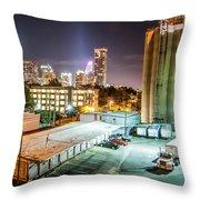 Charlotte City Skyline Night Scene Throw Pillow