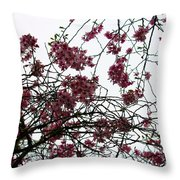 Cherry Blossoms In The Sky Throw Pillow