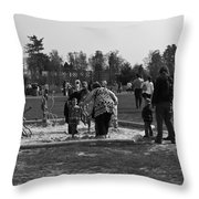 Children Playing Inside The Blair Drummond Safari Park Throw Pillow