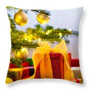 Christmas Tree Decorated With Presents Throw Pillow