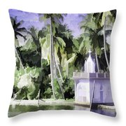 Church Located Next To A Canal Throw Pillow