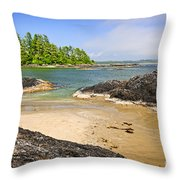 Coast Of Pacific Ocean On Vancouver Island Throw Pillow by Elena Elisseeva