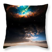 Countryside Sunset Landscape With Planets In Night Sky Elements  Throw Pillow
