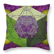 Dodecahedron In A Metatron's Cube Throw Pillow