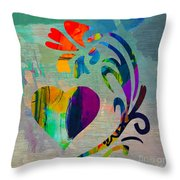 Heart And Flowers Throw Pillow