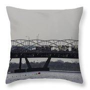 Helix Bridge And Road Bridge Next To Each Other In Singapore Throw Pillow