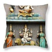 Hindu Temple With Indian Gods Kuala Lumpur Malaysia Throw Pillow