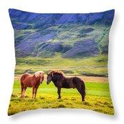 Icelandic Ponies Throw Pillow