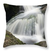 Landscape Of Becky Falls Waterfall In Dartmoor National Park Eng Throw Pillow