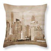 Manhattan Buildings Vintage Throw Pillow