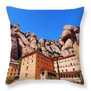 Monastery In Montserrat Throw Pillow