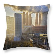 Neurath Power Station Germany Throw Pillow by David Davies
