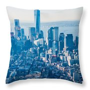 New York City Manhattan Midtown Aerial Panorama View With Skyscr Throw Pillow