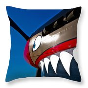 Nose Art On A Curtiss P-40e Warhawk Throw Pillow