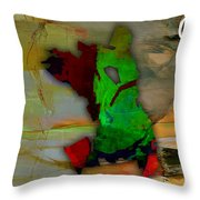 Oakland Map And Skyline Watercolor Throw Pillow