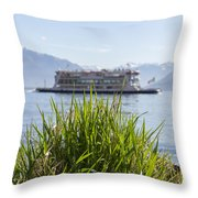 Passenger Ship On An Alpine Lake Throw Pillow
