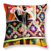Peruvian Dancers At The Parade In Cusco Throw Pillow