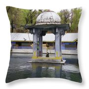 Premises Of The Hindu Temple At Mattan With A Water Pond Throw Pillow