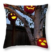 Pumpkin Escape Over Fence Throw Pillow