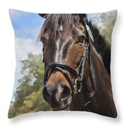 Rocking Horse Stables Throw Pillow