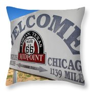 Route 66 - Midpoint Sign Throw Pillow