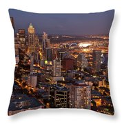 Seattle Skyline With Mount Rainier And Downtown City Lights Throw Pillow