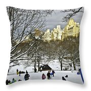 Snowboarding  In Central Park  2011 Throw Pillow