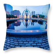 St. Louis Downtown Skyline Buildings At Night Throw Pillow