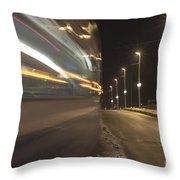 Tram At Night Throw Pillow