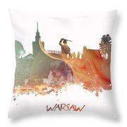 Warsaw City Skyline Throw Pillow