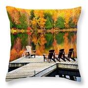 Wooden Dock On Autumn Lake Throw Pillow