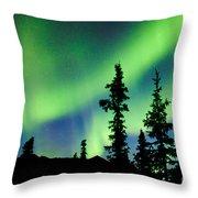 Yukon Taiga Spruce Northern Lights Aurora Borealis Throw Pillow